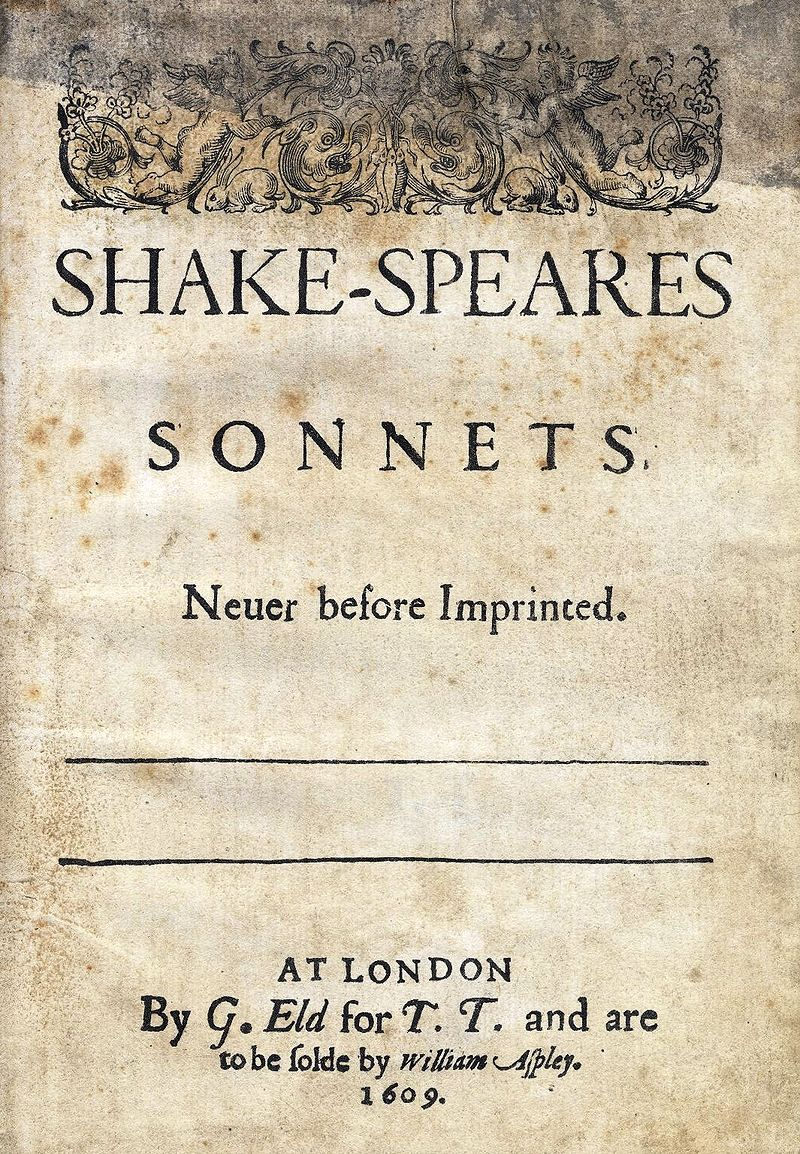 1609 cover of collection of Shakespeare's sonnets