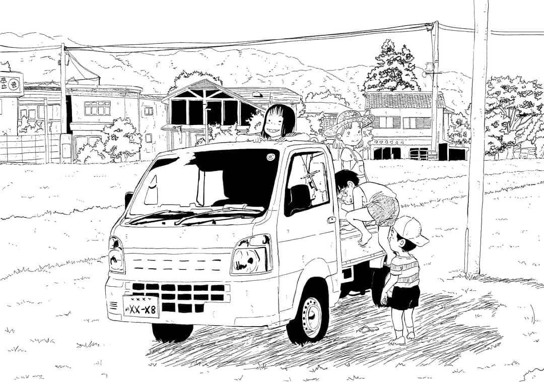 original black and white manga panel by Kachisou featuring children climbing into a truck on a road in a small village