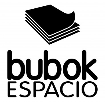 Black and white Bubok space logo