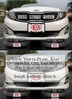Snow White Pearl. Kias Optimas Ex. One Bad Mutha. Fake Federal Surveillance. Fake C.I.A. Triggas.